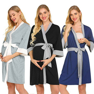 Maternity Nursing Robe Delivery Nightgowns Hospital Breastfeeding Gown NEW