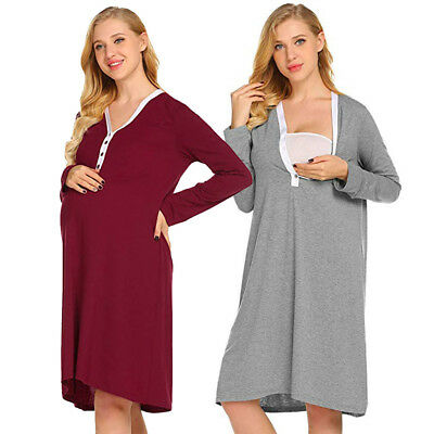 Maternity Nursing Robe Delivery Nightgowns Hospital Breastfeeding Gown Dress HOT