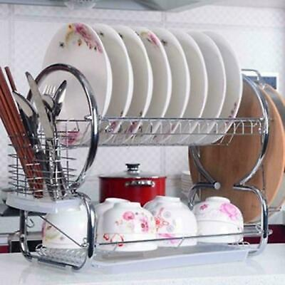 2 Tier Stainless Steel Dish Rack Space Saver Dish Drainer Drying Rack ALYH