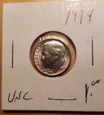 1974 Roosevelt US Dime in UNCIRCULATED (UNC) Condition