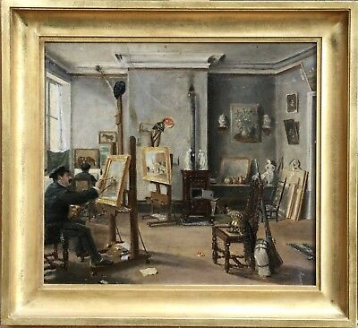 19th CENTURY FRENCH IMPRESSIONIST OIL - PAINTERS IN AN ARTISTS STUDIO - UNUSUAL
