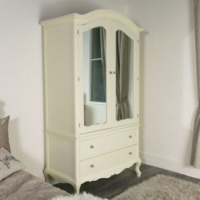 Large cream double wardrobe door armoire mirror storage vintage French bedroom