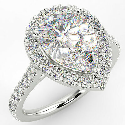 3 Ct Pear Cut VS1/D Solitaire Pave Diamond Engagement Ring 14K White Gold