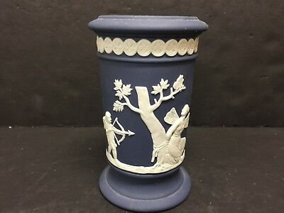 "Perfect Wedgwood Cream On Portland Blue Cylindrical Apollo Vase   5"" X 3 1/8"""
