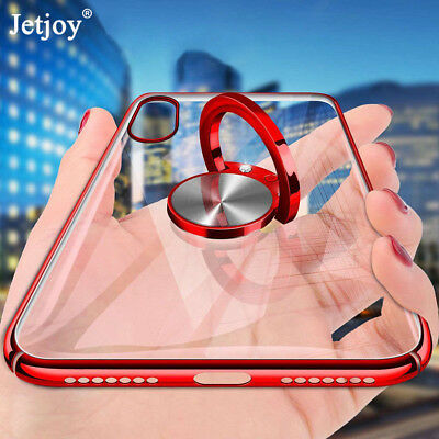 For iPhone XS XR X 7 8 Plus Case Magnetic Bracket Ring Stand Plating Clear Cover