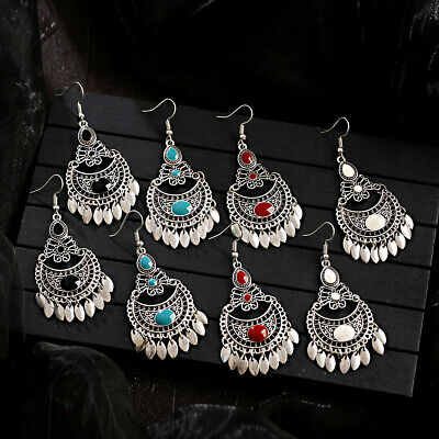 Women Vintage Bohemia Gypsy Vintage Indian Tassel Jhumka Drop Dangle Earrings