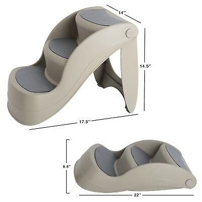 PetMaker 14 Inch Wide Nonslip Foldable Pet Stairs 3 Steps 14 In High