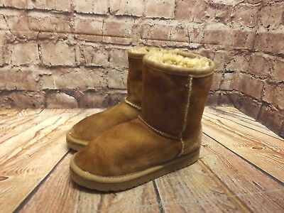 Girls Love From Australia Tan Sheepskin Pull On Ankle Boots UK 1 EU 32 US 2