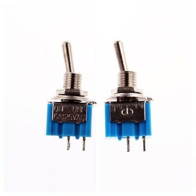10pcs 2 Pin SPST 2 Position 6A 125VAC ON-OFF MTS-101 Mini Toggle Switches