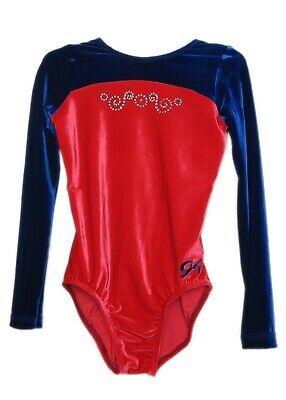 GK Elite Jeweled Red Velvet Gymnastics Leotard - CXS Child Extra Small 4385
