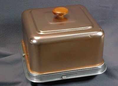Vintage MIRRO Square Copper Tone CAKE CARRIER-COVER-SAVER With Latching Lid