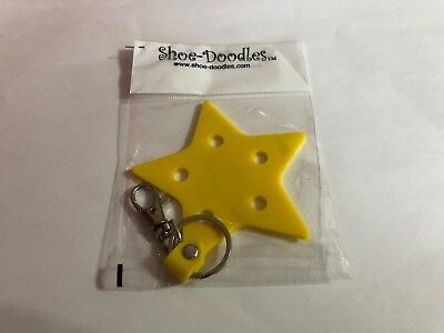 Yellow Star Shoe-Doodle Keychain holds Shoe-Doodle Charm Key Chain PSC802