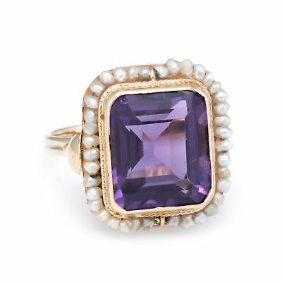 Amethyst Natural Seed Pearl Square Cocktail Ring Vintage 14k Yellow Gold Estate