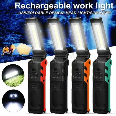 COB LED Li-Ion Rechargeable Work Light Torch Flashlight Car USB Lamp Magnetic
