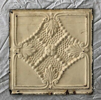 1890's 12 x 12 Antique Tin Ceiling Tile Ivory Metal Reclaimed Anniversary 1-19