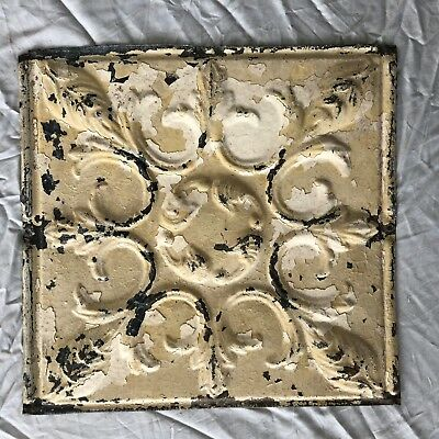 1890's 12 x 12 Antique Tin Ceiling Tile Tan Metal Reclaimed Anniversary 3-19