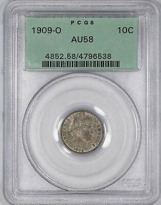 1909 O Barber Dime 10C Pcgs Certified Au 58 About Unc Ogh Old Green Holder (538)