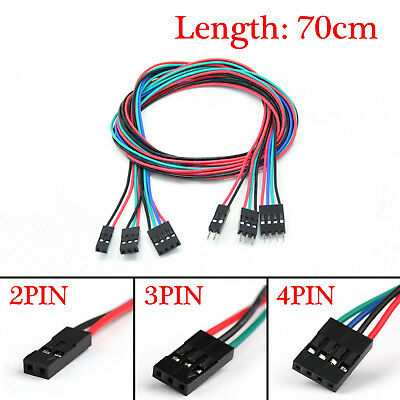 10pcs 70cm 2Pin/3Pin/4Pin Male to Female Jumper Wire Dupont Cable for Arduino UK
