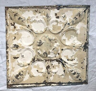 1890's 12 x 12 Antique Tin Ceiling Tile Tan Metal Reclaimed Anniversary 7-19