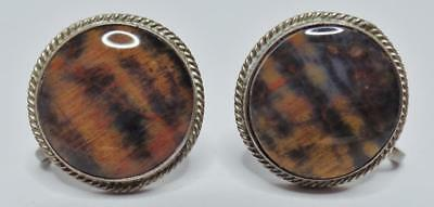 ANTIQUE/VINTAGE 1940s OLD PAWN NAVAJO STERLING SILVER PETRIFIED WOOD EARRINGS