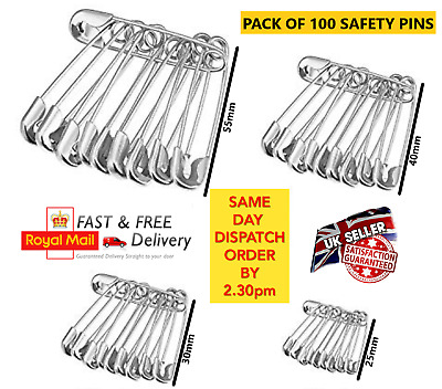 Safety Pins 100Pcs Needles silver Assorted Small Medium Large Sewing Craft aid