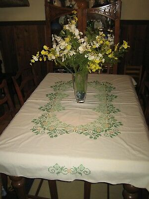 "Vintage Hand Embroidered Cross-Stitched Yellow Green Floral Tablecloth 67"" x 50"""