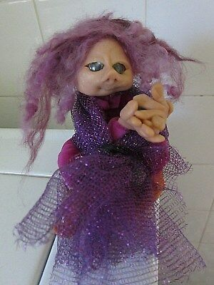 Handmade OOAK Pixie Forest Troll Polymer Clay Fantasy Doll - Purple