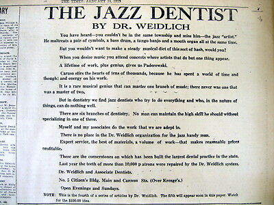 1919 newspaper w AD CRITICAL OF DENTIST who does not refer out difficult cases !