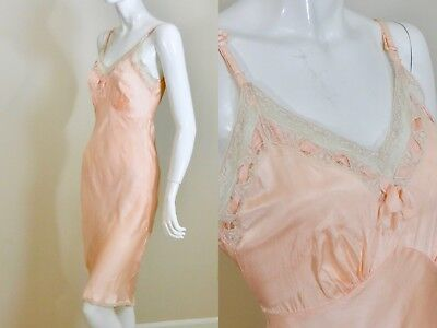 Vintage 1930s BIAS CUT Nude Peach Satin Slip Chemise Nightgown Lace Trim Size 34