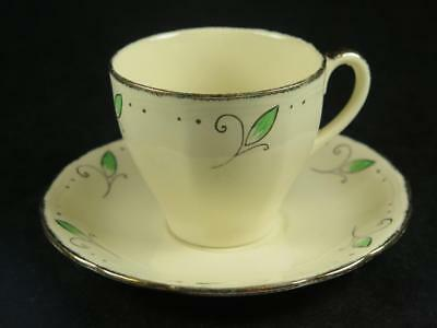 REPLACEMENT CHINA Vintage ROYAL MARIGOLD Cup & Saucer Green Alfred Meakin 1930s