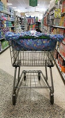 Floppy Seat Cozy Cart /Resturant High Chair Quitted Cover- Blue and Baby Print
