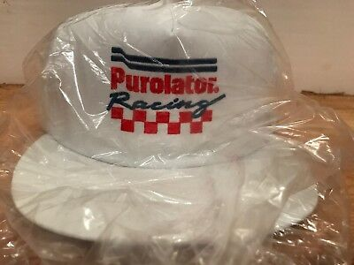 Purolator Vintage White Hat Cap Snap Back Embroidered Nascar Racing Trucker