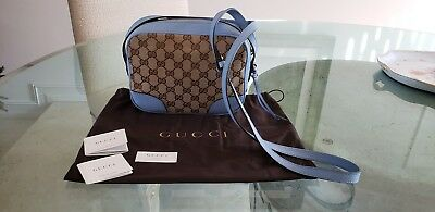 179d1bb14 Gucci Womens Light Blue Leather Canvas GG Guccissima Bree Crossbody Bag