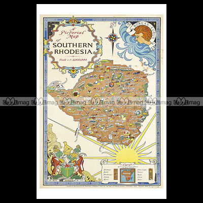 #phpb.000422 Photo SOUTHERN RHODESIA PICTORIAL MAP 1952 Advert Reprint