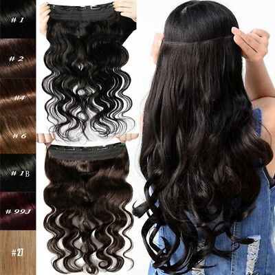 Long One Piece Clip in Remy Human Hair Extensions Curly Wavy Black Brown Blonde