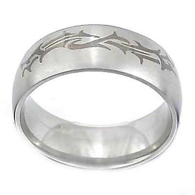 2PK Men's 316L Stainless Steel Etched Tribal Design 10 mm Ring Band-size9