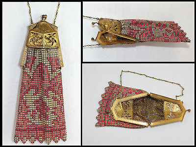 Art Nouveau Deco Whiting &Davis Pierced Filigree Enamel Mesh Link Coin Purse Bag
