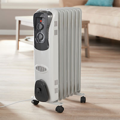 5d81bf8f4b6 Electric Oil Filled Radiator 1500W Space Room Heater 6-Fin Thermostat  Radiant