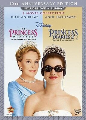 THE PRINCESS DIARIES + PRINCESS DIARIES 2 New DVD + Blu-ray 2 Movie Collection