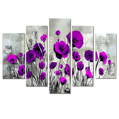 Large Framed Modern Flower Abstract Oil painting on Canvas Wall Art Home Decor