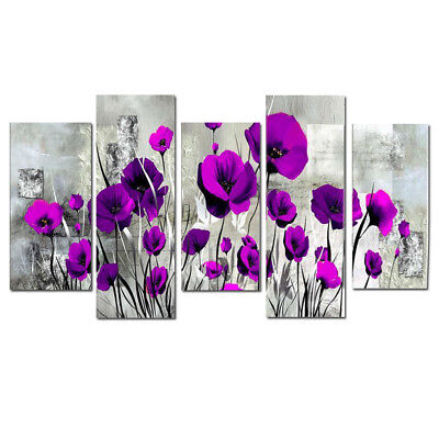 Large Framed Modern Wall Art Flower Abstract Oil Painting on Canvas Home Decor