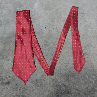Original 1930S Deadstock Vintage Tie Red With Polka Dots Swing Band Rockabilly