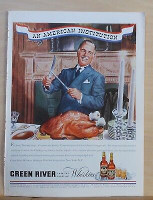 1940 magazine ad for Green River Whisky - Carving the Turkey for Thanksgiving