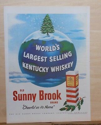 1951 magazine ad for Old Sunny Brook Whiskey - Xmas tree on top of Earth, Cheery