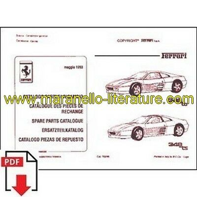 1993 Ferrari 348 TB/TS spare parts catalogue 782/93 PDF (it/fr/uk/de/es)
