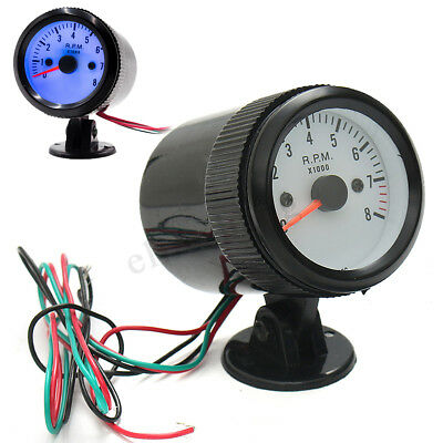 12V 57mm Car Tachometer Tacho Gauge 4-6-8 Cylinder 0-8000RPM W/ Blue LED Light