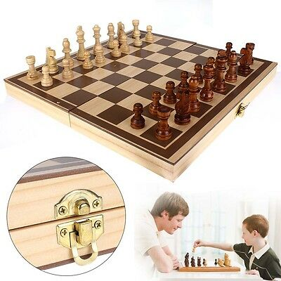 Wooden Pieces Chess Set Folding Board Box Wood Hand Carved Gift Kids Toy EV