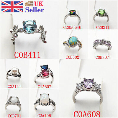 Ring Set New Cubic Zirconia Sparkly Silver Plated Engagement Wedding Galaxy Gift