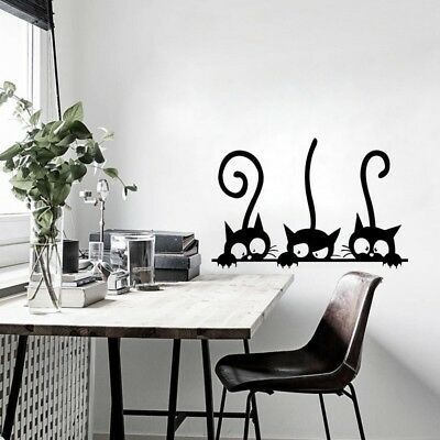 Three Funny Cats Wall Sticker DIY Art Decals Mural Living Room Home Decoration