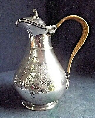 "Good LARGE Ornate 10"" ~ SILVER Plated ~ BULBOUS Juice / Water JUG ~ c1900"